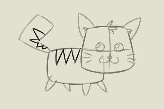 мультяшный котенок шаг 6